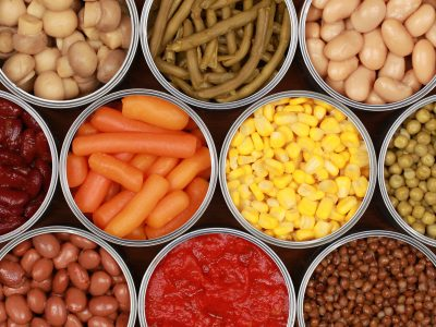 canned vegetables opened, canned carrots corn and beans