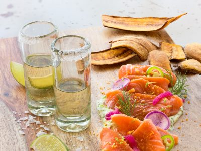 Tequila shots and cured salmon Johnny Sanchez