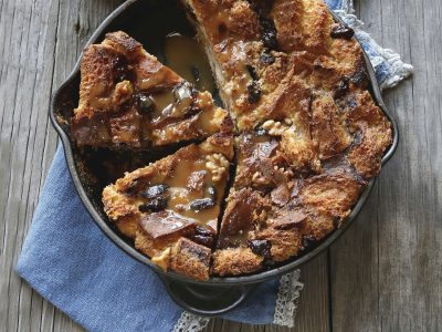 bread pudding cooked in black iron skillet
