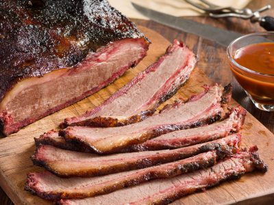 smoked and sliced beef brisket, barbecue, BBQ
