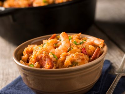 red jambalaya with shrimp