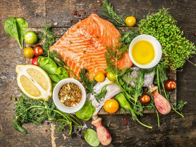 fresh salmon with cooking ingredients, eat right with Rouses