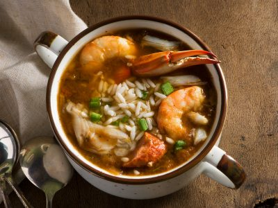 Donny Rouse seafood gumbo with shrimp, crab leg and oyster