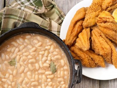 White beans and fried Mississippi catfish Rouse deli