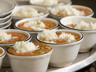individual servings of gumbo with rice