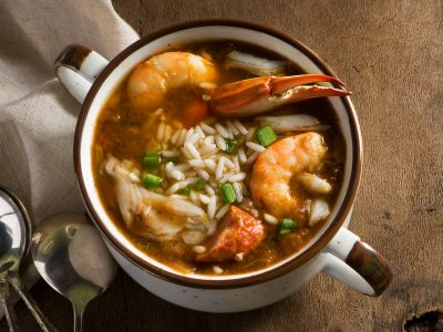 Donny Rouse seafood gumbo with shrimp crab leg and oyster