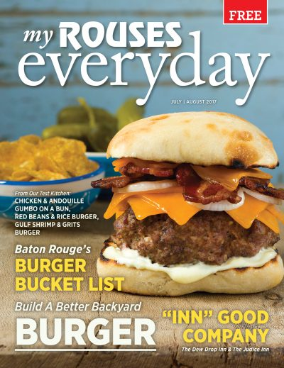 Donny Rouse hamburger cover of Rouses July August 2017 magazine