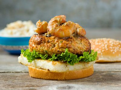 shrimp and grits hamburger open face bun, burger issue Rouses Magazine