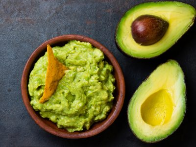 fresh avocado and guacamole