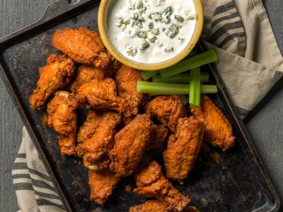 Rouses buffalo chicken wings with blue cheese dressing