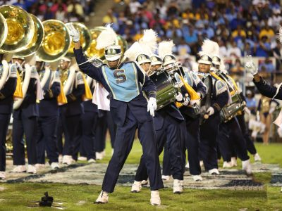 Southern University band performing on field during football game