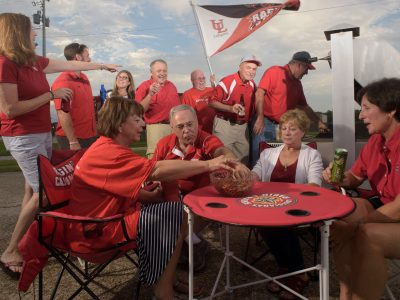 fans tailgating at University of Lafayette, football fans and food