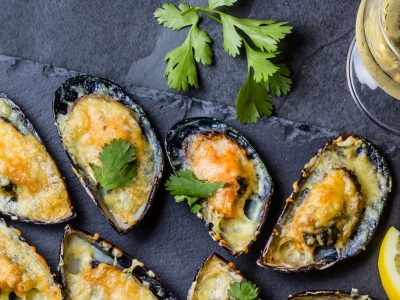 shellfish grilled with sauce