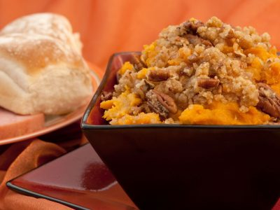 sweet potato casserole topped with pecan mixture