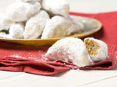 Mrs. Rouse pecan cocoon cookies with powdered sugar, Christmas cookies