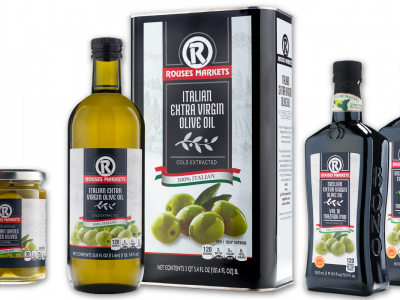 Rouses cans and bottles private label olive oil from Italy and Sicily