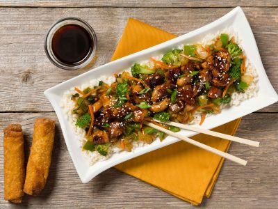 Rouses Chicken Teriyaki meal kit with chop sticks
