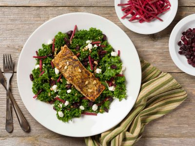 Rouses salmon with kale salad meal kit